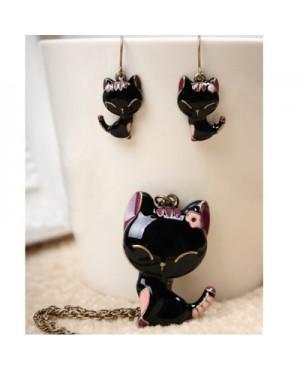 Дамски комплект бижута с котенца