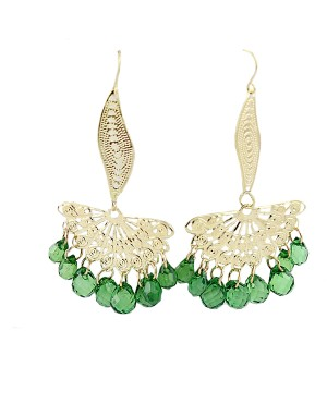 Дамски обеци със зелени кристали