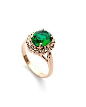 Позлатен дамски пръстен със зелен кристал