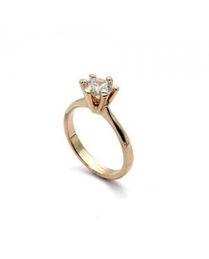 Позлатен дамски пръстен с голям кристал